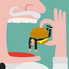 Bigger businessman eating businessman who get trapped by burger
