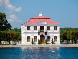 Peterhof.Marly Palace on bank of  Big Marlinsky pond...