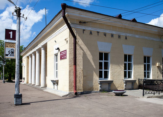 Railway station in the suburb of St. Petersburg. Gatchina...