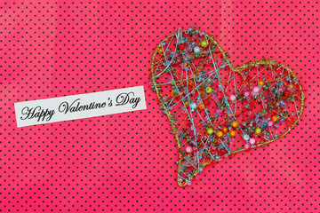 Happy Valentine's day card with heart made of beads