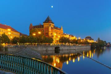 Night Smetanovo waterfront in Prague, Czech Republic