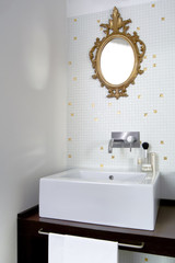 interior view of a modern bathroom with parquet