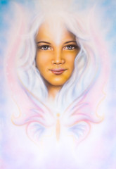 A beautiful airbrush painting of a young girl's angelic