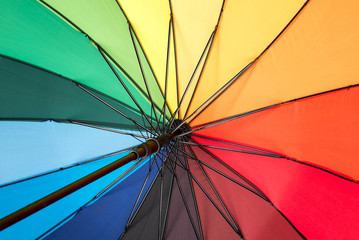 Close-up of inside a rainbow colored umbrella