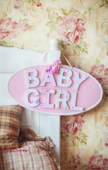 "wooden plate ""baby girl"""