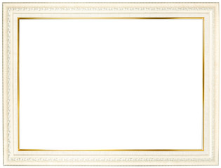 White wooden frame with gold trim.