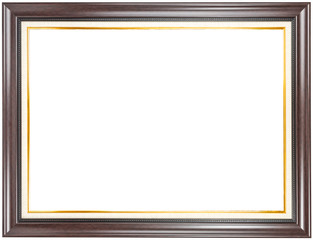 Brown wood frame with gold trim.
