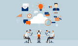 business connection online  on cloud technology - 76828176