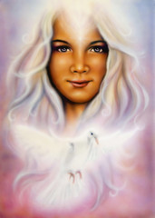 young girl's angelic face with radiant white hair and a dove