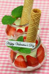 Happy Valentine's card with creamy strawberry dessert