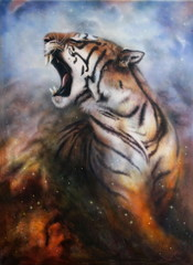 painting of a roaring tiger on a abstract cosmical background