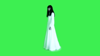 Horror scene of a scary woman-on green screen