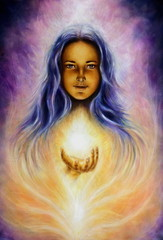 woman goddess Lada holding a sourceful of a white light on her p