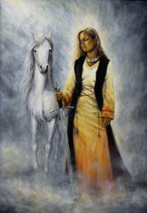 mystical woman holding a sword of silver, with a white horse