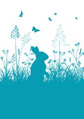 Osterhase, Häschen, Wiese, Gras, Rasen, blau, Schmetterlinge, 2D