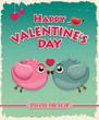 Vintage Valentine poster design with birds