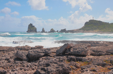 "View of rocks of ""Pointe des Châteaux"". Guadeloupe"