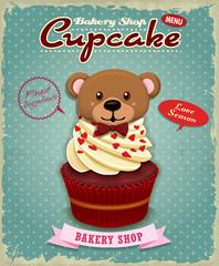 Vintage Valentine cupcake poster design