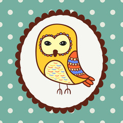 Owl bird portrait. Vector doodle illustration