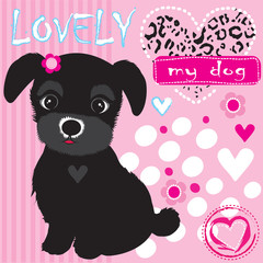 cute black dog vector illustration