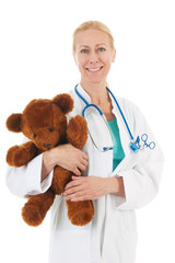 pediatrician with stuffed bear