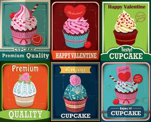 Vintage Valentine cupcake poster design set