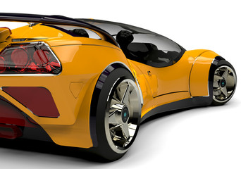 future car yellow bsck side view