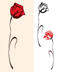 red poppy flower design