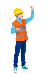 Scolding little construction worker