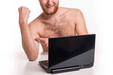 Naked man in front of webcam