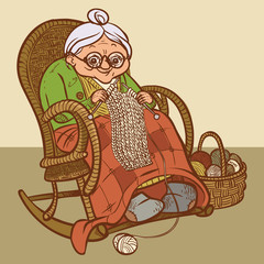 Funny vector cartoon  granny. vector illustration
