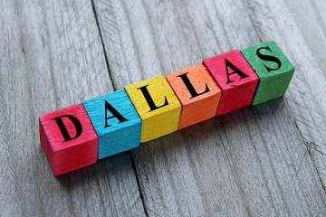 word dallas on colorful wooden cubes