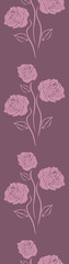 Violet seamless border with stylized roses