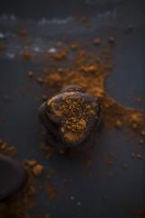 Chocolate heart shape pralines