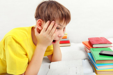 Surprised Teenager doing Homework