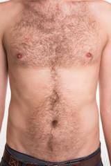 Unshaven man's chest and abdomen