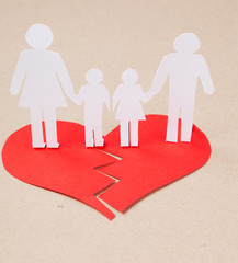 Divorce effect on kids concept with hands cutting paper  family