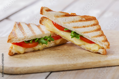 grilled sandwich toast with tomato and cheese - 76832189