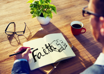 Businessman Faith Prayer Religion Office Analyzing Concept