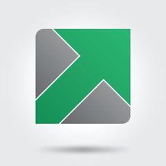 green arrow button icon logo vector
