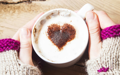 Heart Shape Cappuccino Cup with Whipped Cream