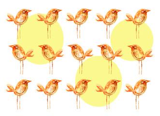 Birds brown. Pattern. Watercolor