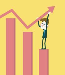 Businessman improve achievement graph. Growth business.