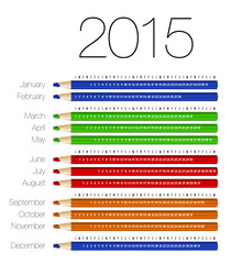 English calendar for 2015 on colorful pencils