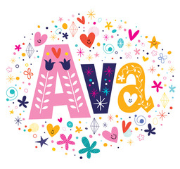Ava female name decorative lettering type design