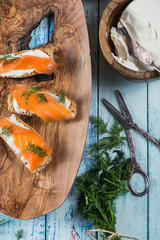 cottage style breakfast with smoked salmon