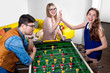 canvas print picture - Friends playing table football