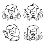 monochrome set of four chef icons