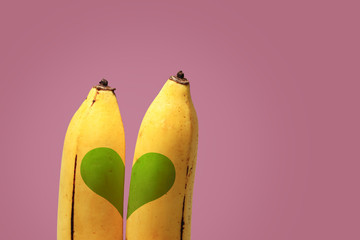 Couple of bananas ,background for valentine's day.