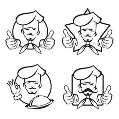 monochrome set of four chef icons